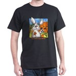 Cute Cartoon Rabbit Black T-Shirt