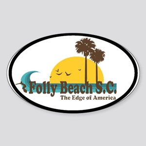 Folly Beach SC Oval Sticker
