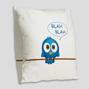 Blue twitter bird talking Burlap Throw Pillow