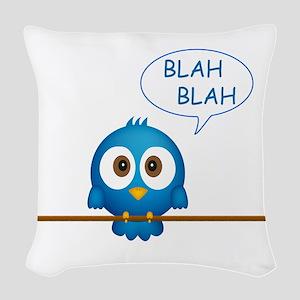 Blue twitter bird talking Woven Throw Pillow