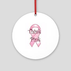 Think Pink Ribbon Ornament (Round)