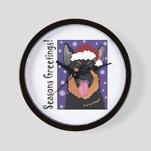 German Shepherd Santa Wall Clock