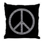 White Peace Sign Throw Pillow