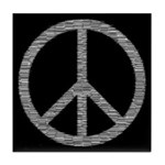 White Peace Sign Tile Coaster