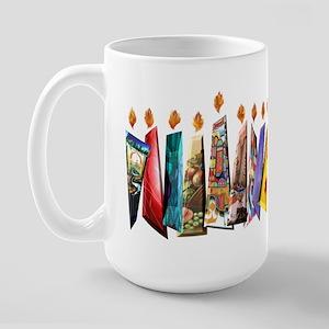 Fabric Chanukah Menorah Large Mug