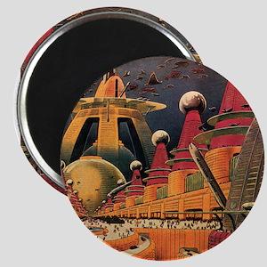 "Vintage Science Fiction Futuristic City 2.25"" Magn"