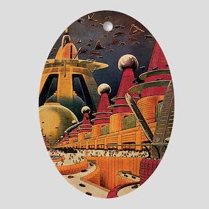 Vintage Science Fiction Futuristic City Ornament (