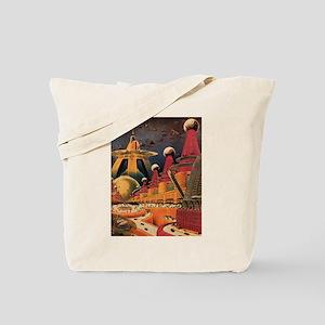 Vintage Science Fiction Futuristic City Tote Bag