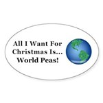Christmas World Peas Sticker (Oval 50 pk)