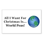 Christmas World Peas Sticker (Rectangle 10 pk)