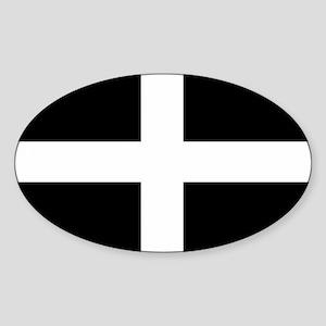 Saint Piran's Cornwall Flag Oval Sticker (10 pk)