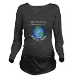 Christmas World Peas Long Sleeve Maternity T-Shirt