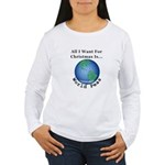 Christmas World Peas Women's Long Sleeve T-Shirt