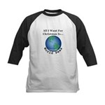 Christmas World Peas Kids Baseball Tee