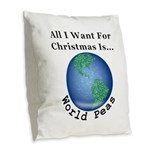 Christmas World Peas Burlap Throw Pillow