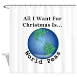 Christmas World Peas Shower Curtain
