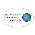 Christmas Peas On Earth Sticker (Oval 10 pk)