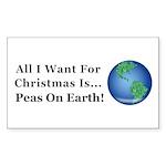 Christmas Peas On Earth Sticker (Rectangle)