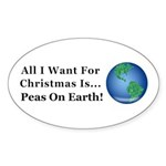 Christmas Peas On Earth Sticker (Oval)