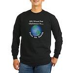 Christmas Peas On Earth Long Sleeve Dark T-Shirt