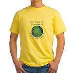Christmas Peas On Earth Yellow T-Shirt