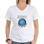 Christmas Peas On Earth Women's V-Neck T-Shirt