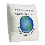 Christmas Peas On Earth Burlap Throw Pillow