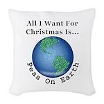 Christmas Peas On Earth Woven Throw Pillow