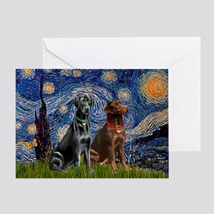 Starry / 2 Labradors (Blk+C) Greeting Card