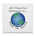 Christmas Peas On Earth Tile Coaster