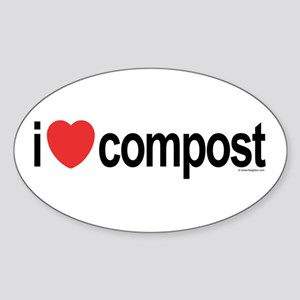 I Love Compost Oval Sticker