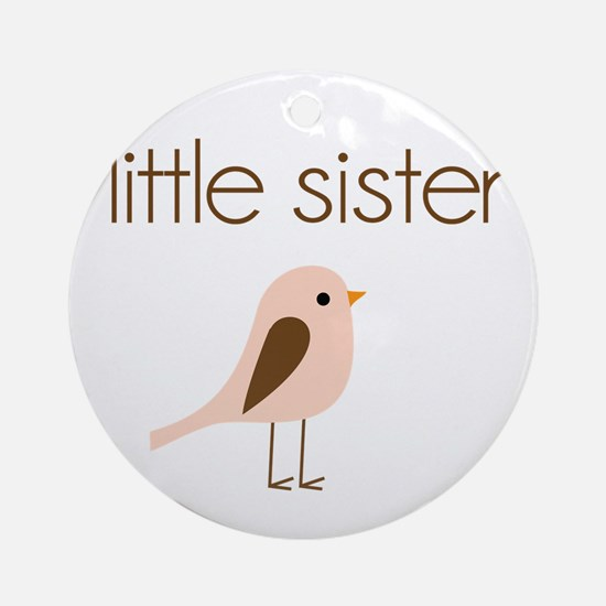 little sister t-shirt birdie modern Ornament (Roun