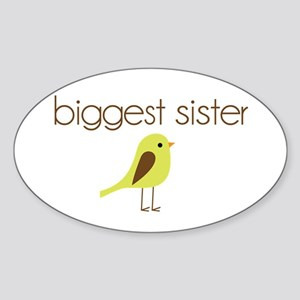 mod biggest sister t-shirt birdie Oval Sticker