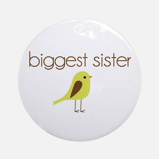 mod biggest sister t-shirt birdie Ornament (Round)