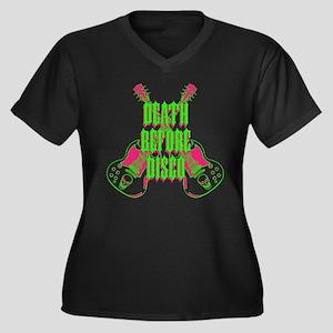 Death Before Disco Women's Plus Size V-Neck Dark T