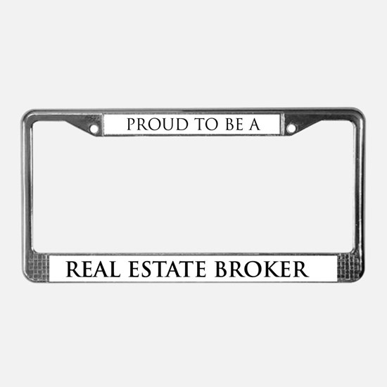 Proud Real Estate Broker License Plate Frame