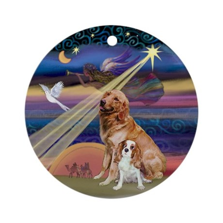 Golden & Cavalier Christmas Star Ornament (Round)