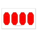 Faux Red Gem Rectangle Sticker