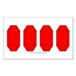 Faux Red Gem Rectangle Sticker 10 pk)