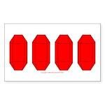 Faux Red Gem Rectangle Sticker 50 pk)