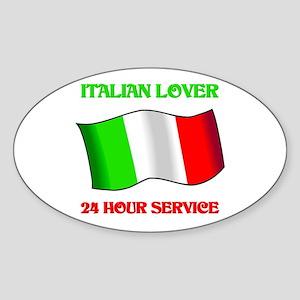 Italian Lover 24 Hour Service Oval Sticker