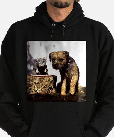 Border Terrier and Rat Hoodie (dark)