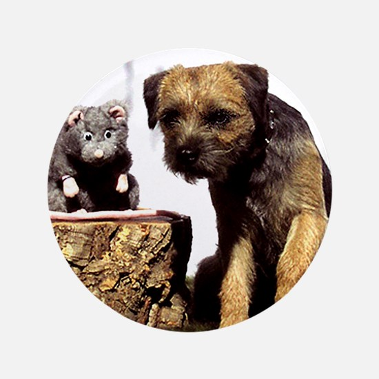 """Border Terrier and Rat 3.5"""" Button"""