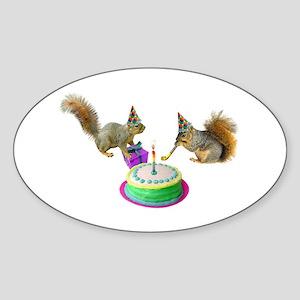 Squirrels Birthday Oval Sticker