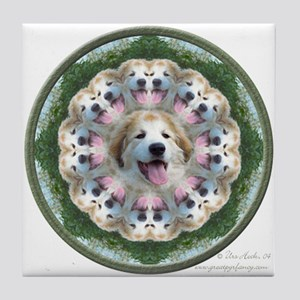 Great Pyrenees Mandala Tile Coaster