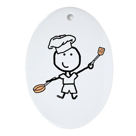 Boy & Chef Oval Ornament