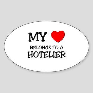 My Heart Belongs To A HOTELIER Oval Sticker