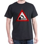 Cliff Warning Sign Black T-Shirt