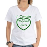 I Contain Recycled Parts Women's V-Neck T-Shirt