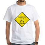 Dangerous Curves Sign White T-Shirt
